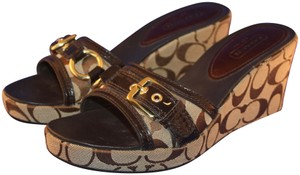 Coach Buckle Signature Jacquard Leather Brown and Tan Sandals