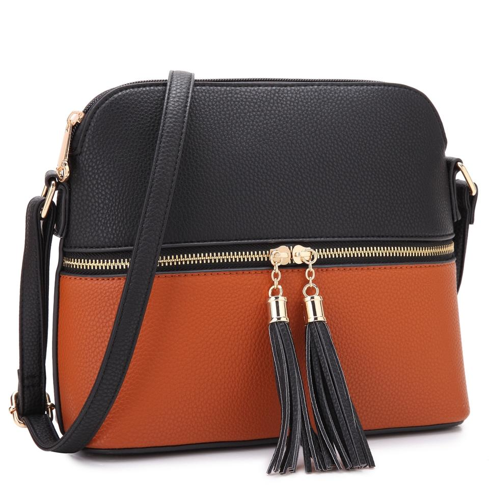 0da16a64421 All-in-one Crossbody/ Messenger Black/Brown Faux Leather Cross Body Bag