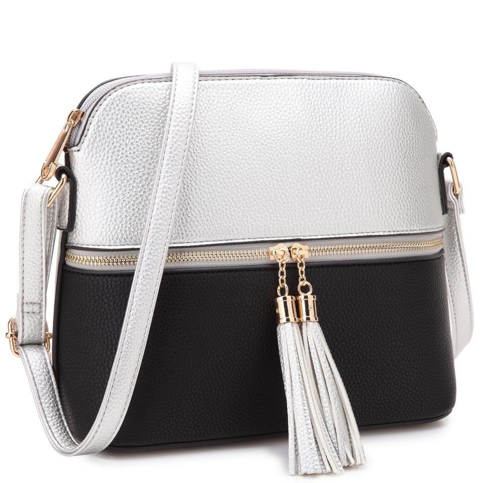 13e640ca77e All-in-one Crossbody/ Messenger Silver/Black Faux Leather Cross Body Bag  76% off retail