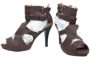 Eryn Brinié Gladiators Stiletto Zip Heel Brown, Gunmetal Silver Platforms