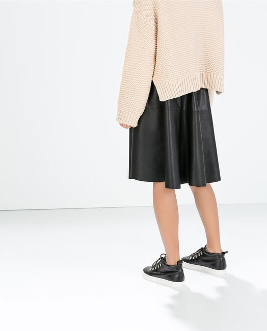 Zara Faux Leather Xs Below Knee Date Party Spring Summer Pleated Sold Out Bloggers Rare Skirt Black
