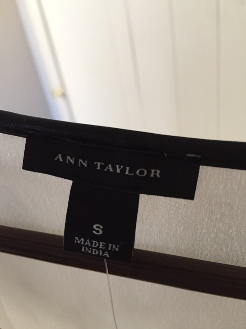 Ann Taylor Faux Leather Piping Top Cream
