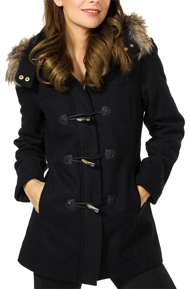 bbb80e2ee05 Black Duffy Women's Hooded Parka Fur Trim Wool Coat Toggle Button Jacket  Size 10 (M) 46% off retail