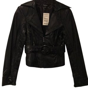 bebe Woven Design Cropped Leather Jacket