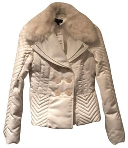 bebe Quilted Rabbit Fur Collar Corset Design White Jacket