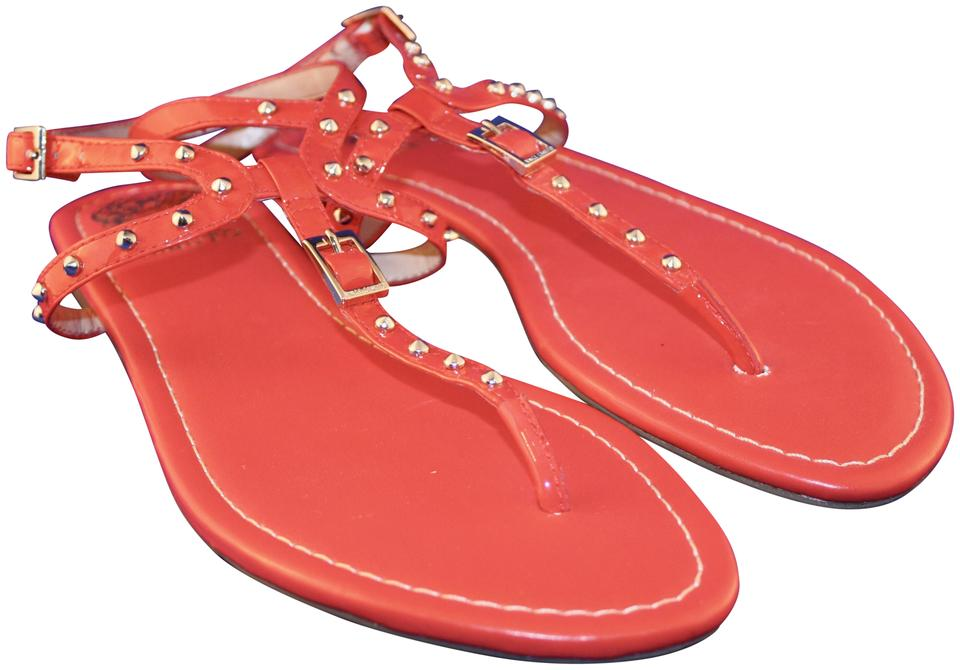 82df8da6769 Vince Camuto Flip Flop Thong Patent Leather Spike Buckle Coral Red Sandals  ...