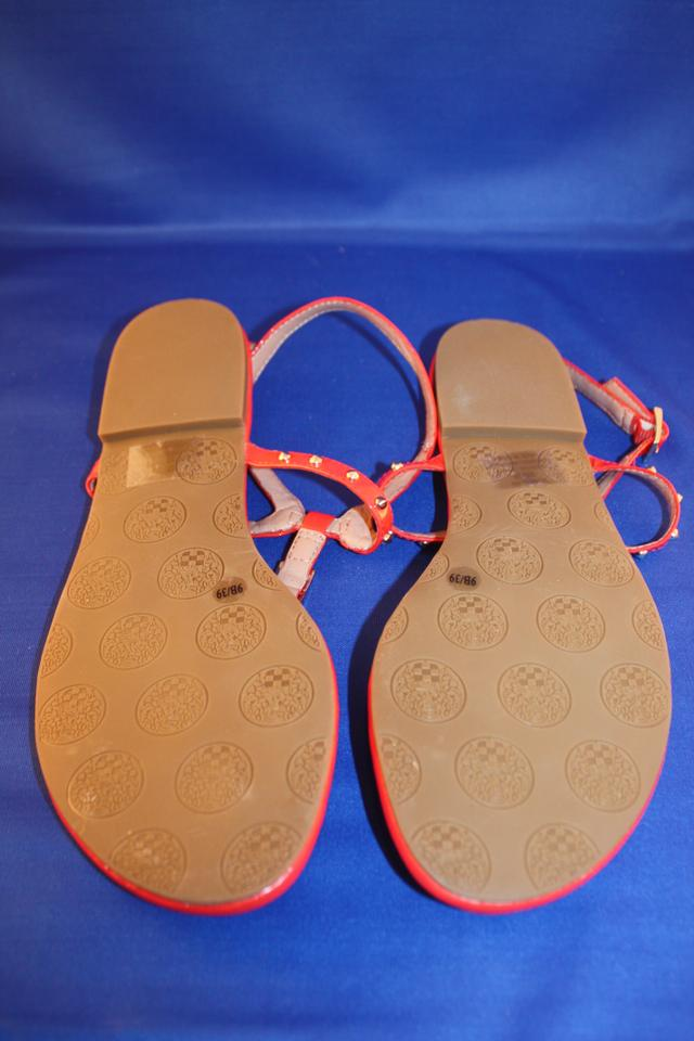 2b19e2c808a Vince Camuto Flip Flop Thong Patent Leather Spike Buckle Coral Red Sandals.  12345
