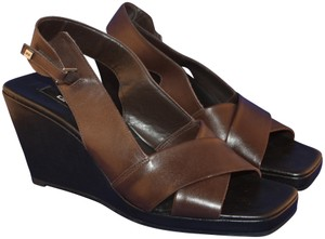 6e076732abec DKNY Crisscross Strap Slingback Leather Brown Sandals