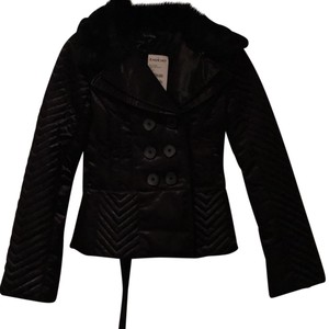 bebe Rabbit Fur Quilted Corset Style Winter Black Jacket
