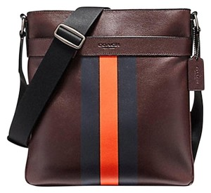 Coach New With Tags Men's ANTIQUE NICKEL/OXBLOOD/MIDNIGHT NAVY/CORAL Messenger Bag