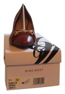 Nine West Wedge Leather Gold Hardware Cognac Wedges