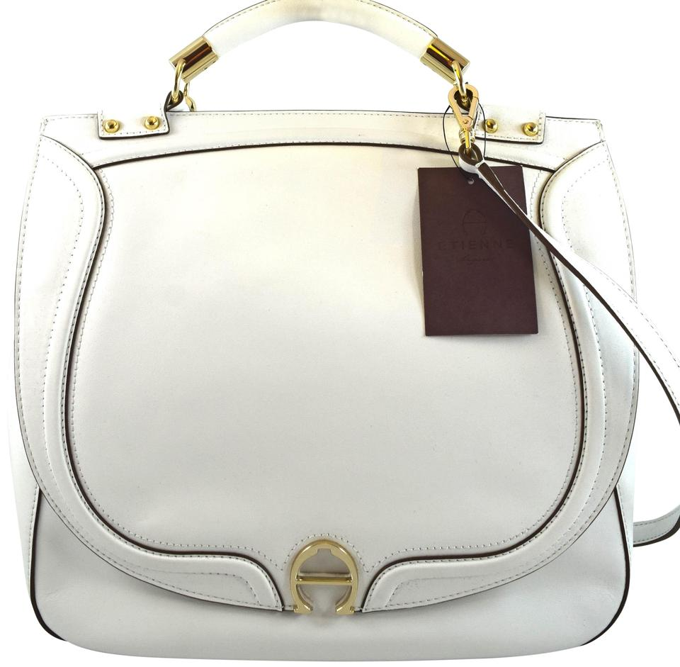 Etienne Aigner Charlie White Leather Satchel Tradesy