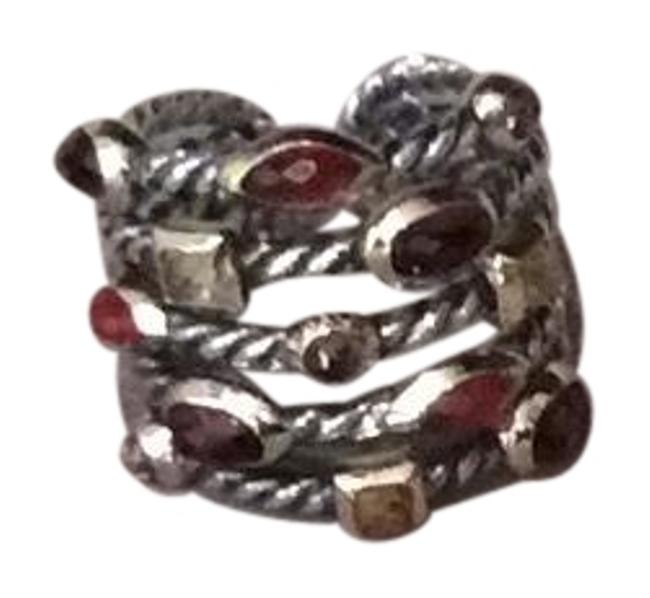 Item - Multi Colored Gems Sterling with 18k Yellow Gold Accents Confetti with Stones Ring
