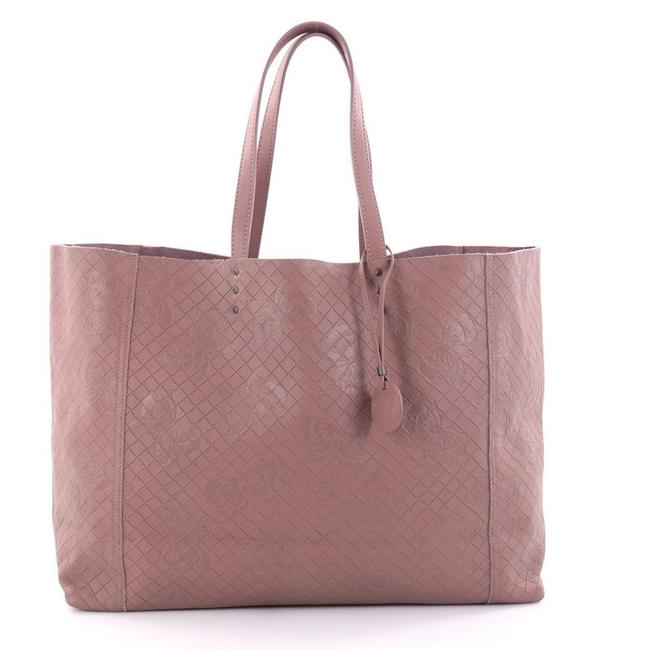 Item - Butterfly Embossed Intrecciomirage Intarsio Large Mauve Leather Tote