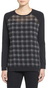 Vince Camuto Gentle Check Mixed Media Top Black