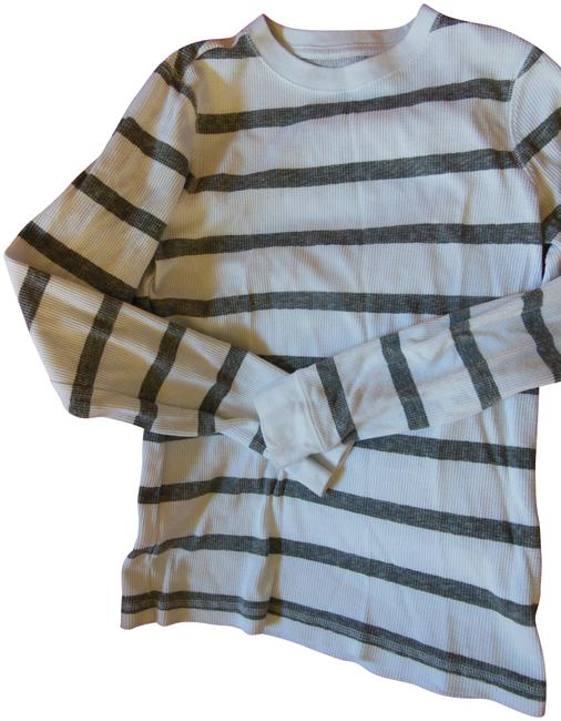 Item - White Gray L Thermal Boys Striped Large Tee Shirt Size 12 (L)