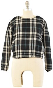Lovers + Friends Plaid Flannel Quilted Lining Longsleeve Top Black & White