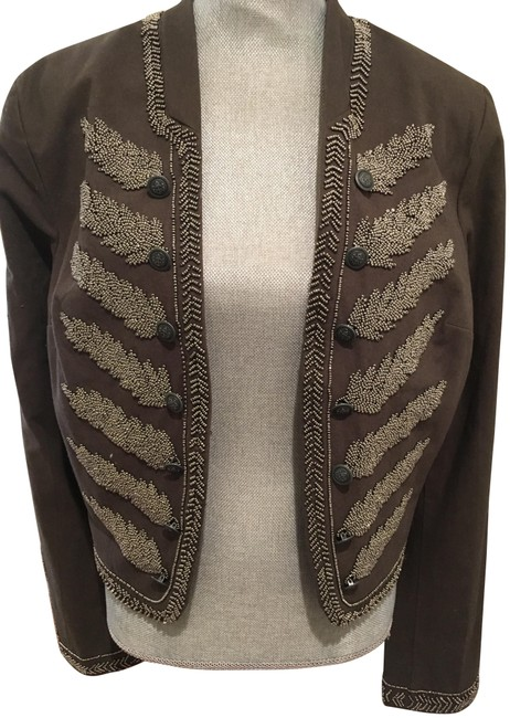 Item - Khaki Green and Silver Beading Cropped Jacket Size 12 (L)