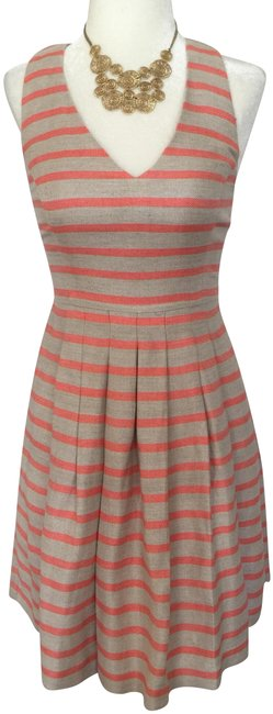 Item - Coral/Tan Mid-length Short Casual Dress Size 0 (XS)