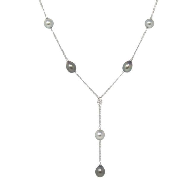 Item - White Gold Ninfea 18k Tahitian Pearl & Diamonds Drop Necklace
