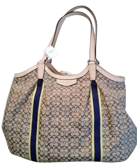 Preload https://item1.tradesy.com/images/coach-sale-signature-c-cloth-beigekakinavy-fabric-and-leather-shoulder-bag-2244290-0-5.jpg?width=440&height=440
