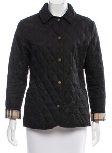 Burberry Quilted Nova Check Plaid Monogram Belted Black, Beige Jacket