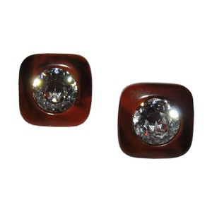 Lanvin Lanvin Brown Swirl Bakelite Headlight Rhinestone Earrings
