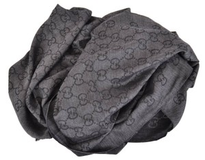 Gucci New Gucci 165903 XL Charcoal Grey Wool Silk GG Guccissima Logo Scarf