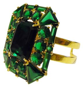 V By Eva V By Eva Large Emerald Green Gemstone Cuff fit 6 3/4