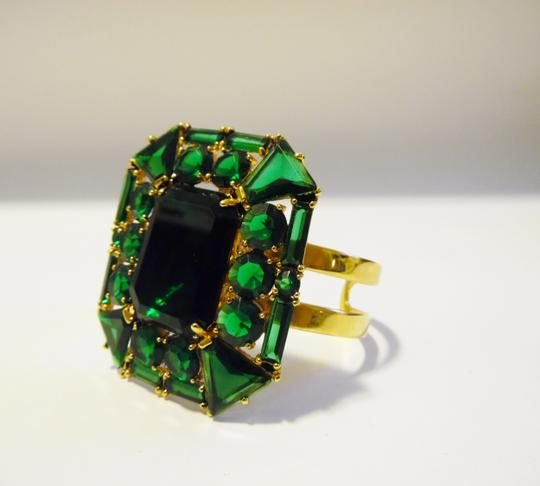 "V By Eva V By Eva Large Emerald Green Gemstone Cuff fit 6 3/4"" to 7"" wrist"