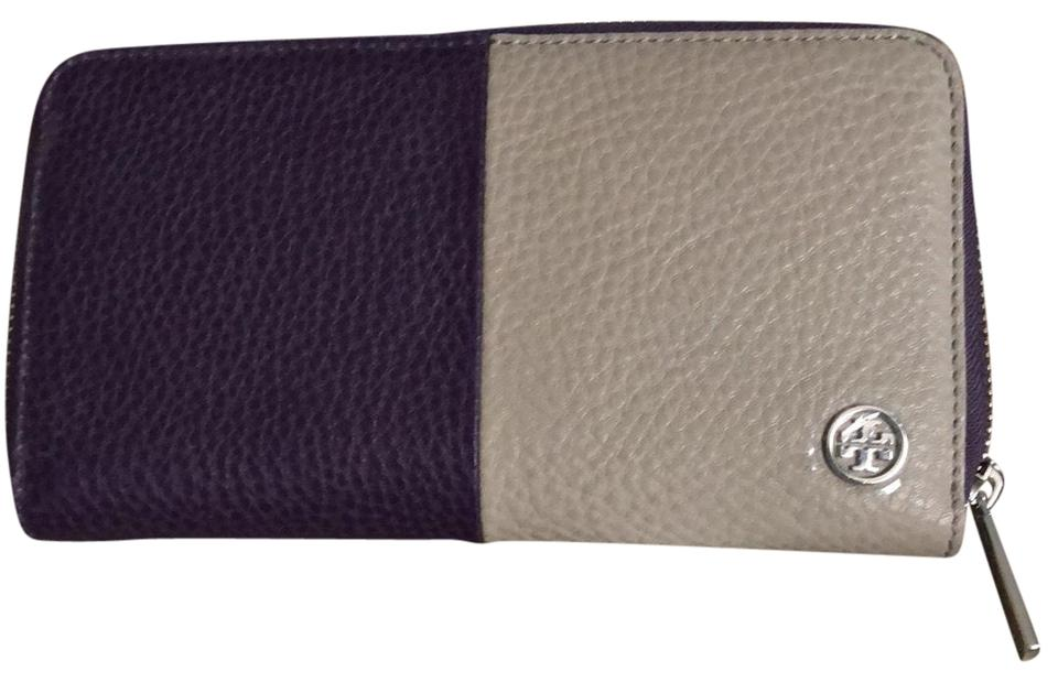 c96368c806a5 Tory Burch Purple Iris  French Gray Robinson Pebbled Color Block Zip  Continental Wallet