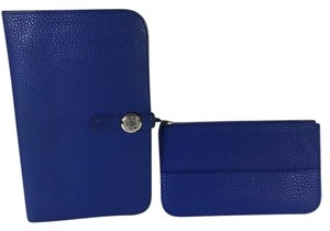 Hermès Auth Hermes Dogon Blue Electric Togo Leather Coin Purse Wallet