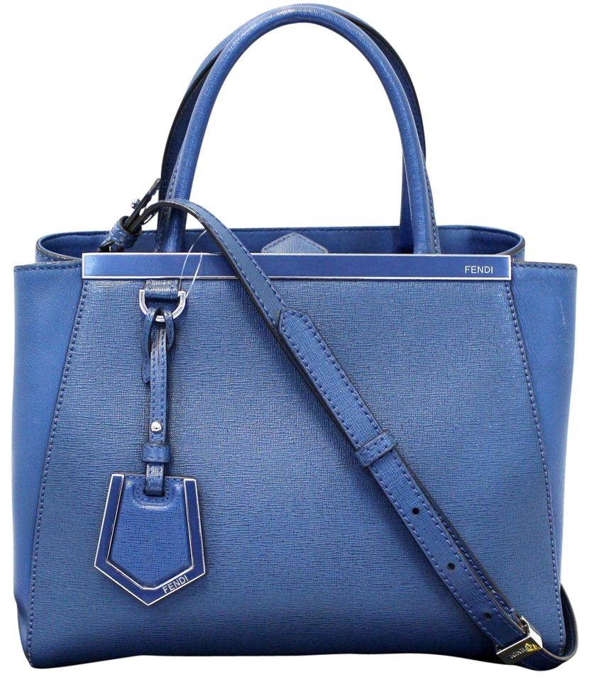 27fcd650bc97 Fendi Roma Petite 2 Jours Handbag Blue Calfskin Leather Shoulder Bag ...