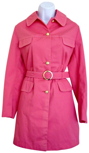 Item - Pink 70s Trench Trenchcoat Bright Unworn 1970s Belted Coat Size 6 (S)