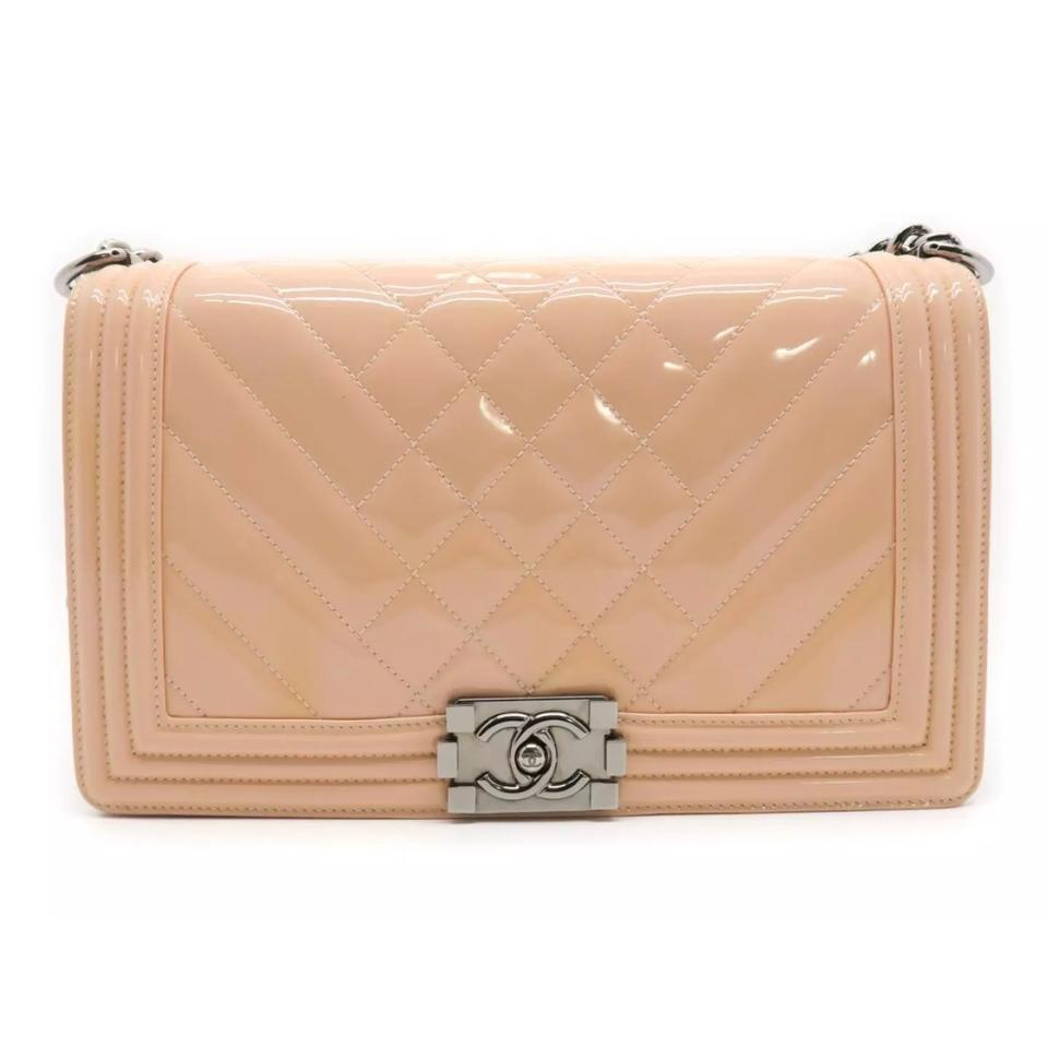 cc71a8199f9b Chanel Boy Medium Quilted Crossbody Chain Pink Patent .