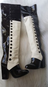 Chanel Leather Long Fashion Clothing Black White Boots