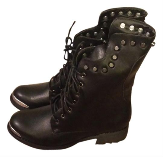 Wild Diva Studded Leather Rocker Faux Leather Black Boots