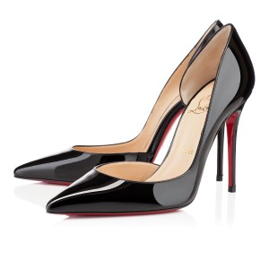 Christian Louboutin Iriza Red Sole Patent Leather Classic Black Pumps