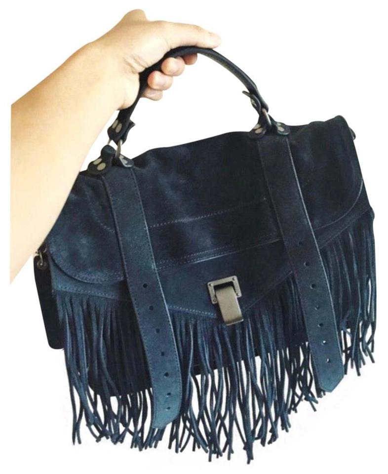 85ffdd6d06b7 Proenza Schouler Ps1 Medium Fringe Navy Suede Leather Cross Body Bag ...
