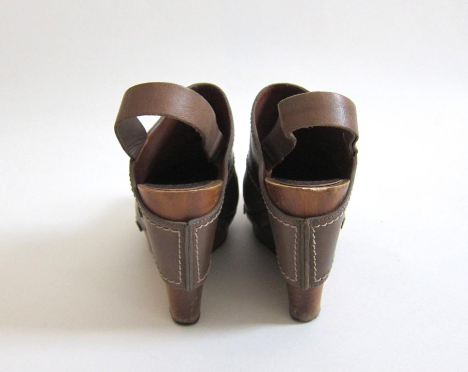 11c3b90e044 See by Chloé Taupe Leather Platform Wedge Sandals Wooden Heels Mules ...