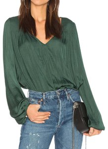 Free People Body Suit Silk Tucked In Low Cut Deep V Top green