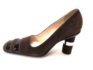 Chanel Suede Vintage Cylinder Heels Brown Pumps