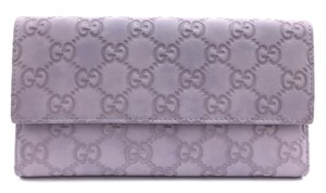 Gucci #11137 Guccissima lillac leather long trifold Wallet Clutch