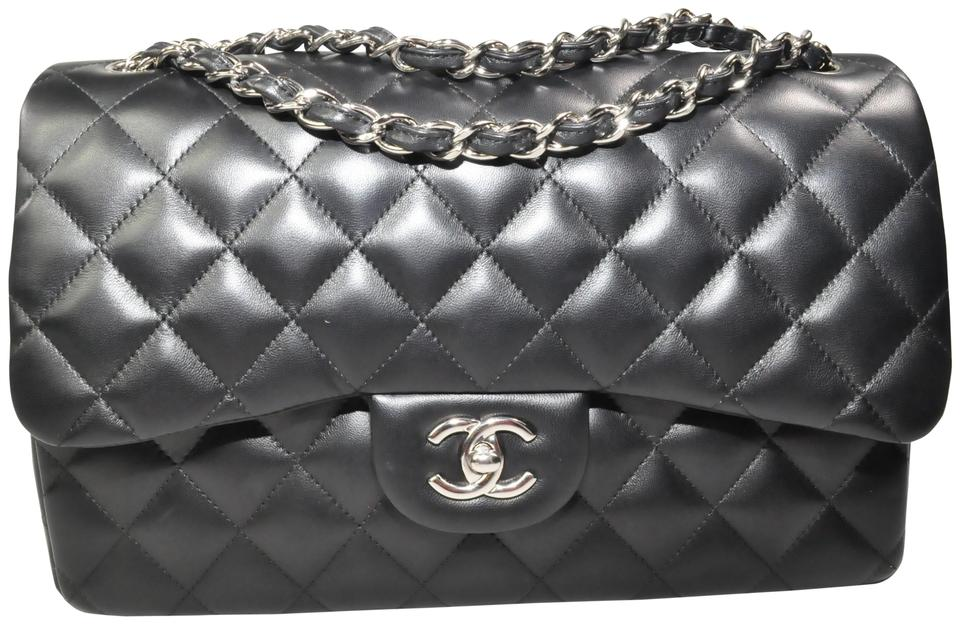 e9f43bbbcbb0 Chanel Classic Flap Quilted Cc Logo Jumbo Black Lambskin Leather ...