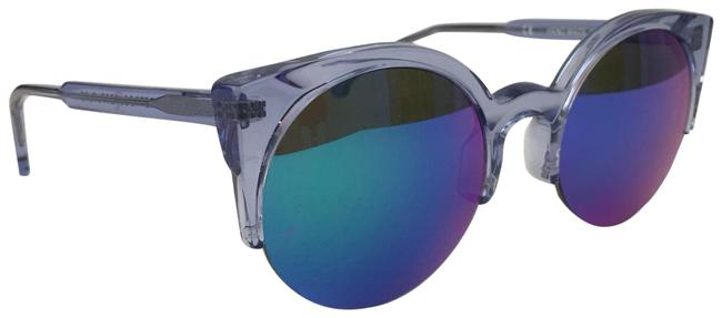 Item - Blue Clear Mirror Mirrored Round with Case Sunglasses