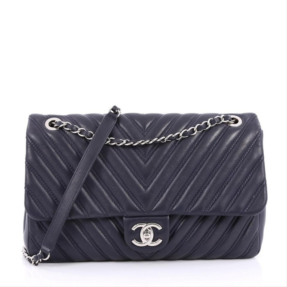 e0c449fcc8cb Chanel Classic Flap Double Stitch Chevron Jumbo Navy Blue .