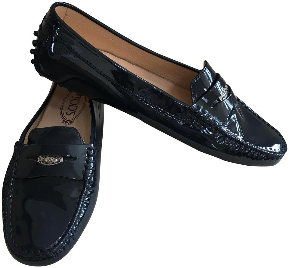 Tod's Dark Blue Patent Patent Blue Leather Gommini Moccasin Flats 616596