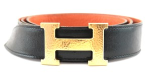Herms #15226 RARE 32Mm Hammered Gold H Size 105 Reversible Belt leather