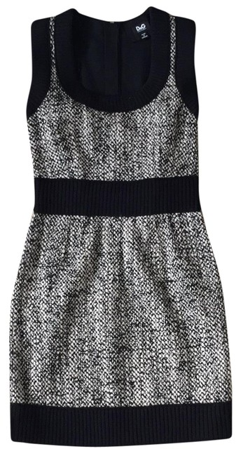 Item - Black and Beige Fall Tweed Short Casual Dress Size 4 (S)
