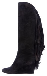 Christian Louboutin Pouliche Suede Fringe Black Boots
